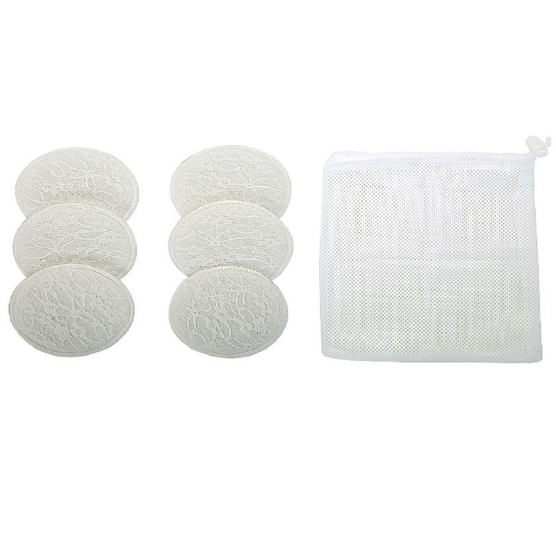 Mee Mee Washable Cotton Maternity Breast Pads Pack Of 6 - White
