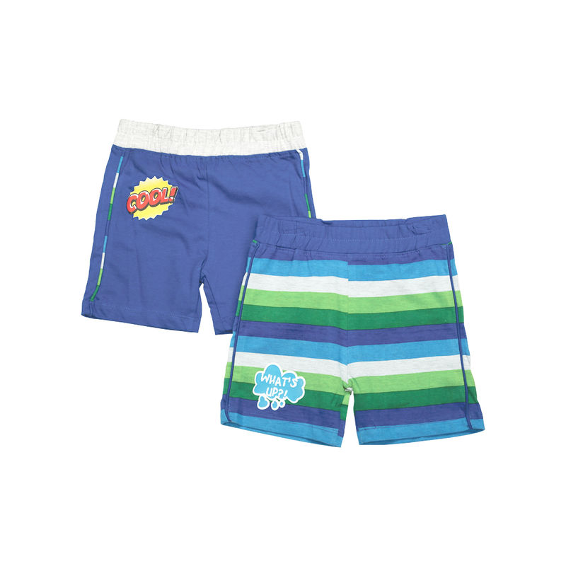 Mee Mee Short For Boys - Royal Blue & Royal Stripe Pack Of 2