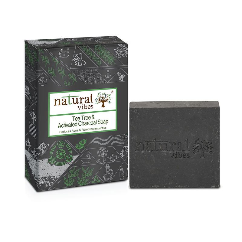 Natural Vibes Ayurvedic Tea Tree And Activated Charcoal Soap