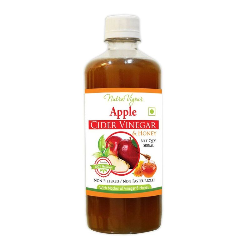 Nutravigour Apple Cider Vinegar Plus Honey ( ACVH ) Unfiltered, Unpasteurized With All The Natures Benefits-500ml - Mother Of Vinegar
