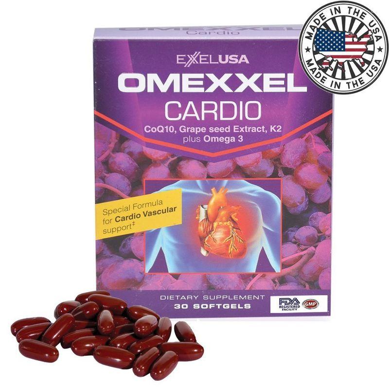 ExxelUSA Omexxel Cardio (Coq10, Grape Seed Extract 95%Opc, K2 Plus Omega 3)
