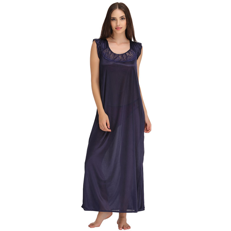 Clovia Satin Nighty And Robe Set - Blue at Nykaa.com 73e89a93a