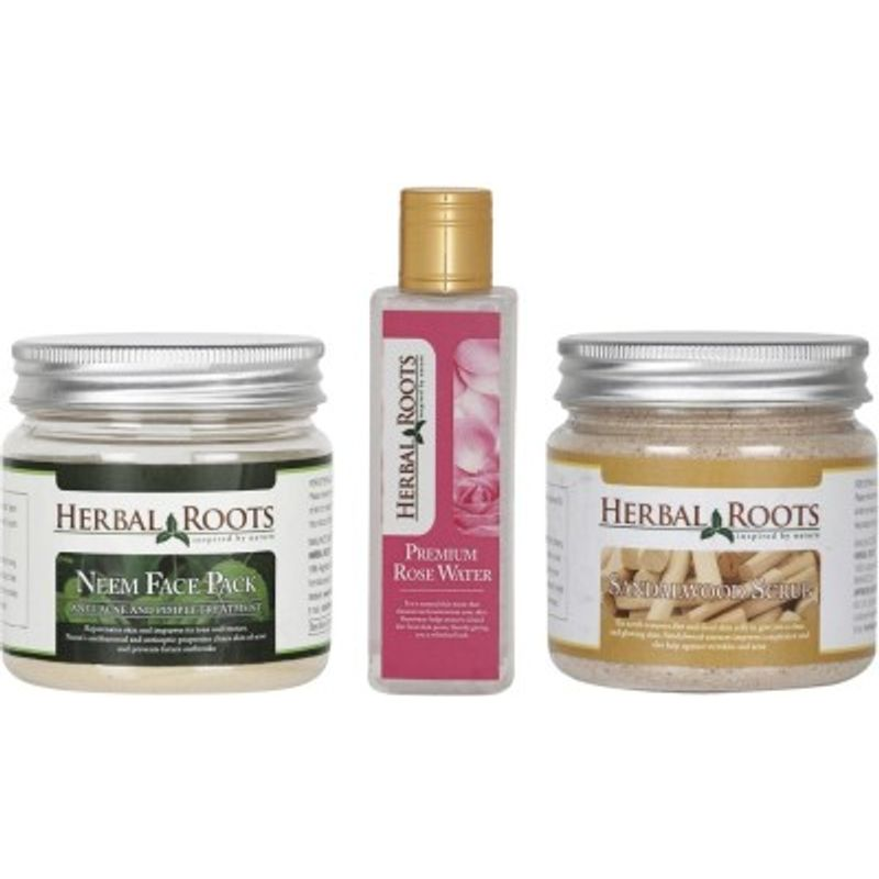 Herbal Roots Anti Acne/Pimple Care - Sandalwood Scrub, Neem Face Pack & Rose Water For Face Treatments