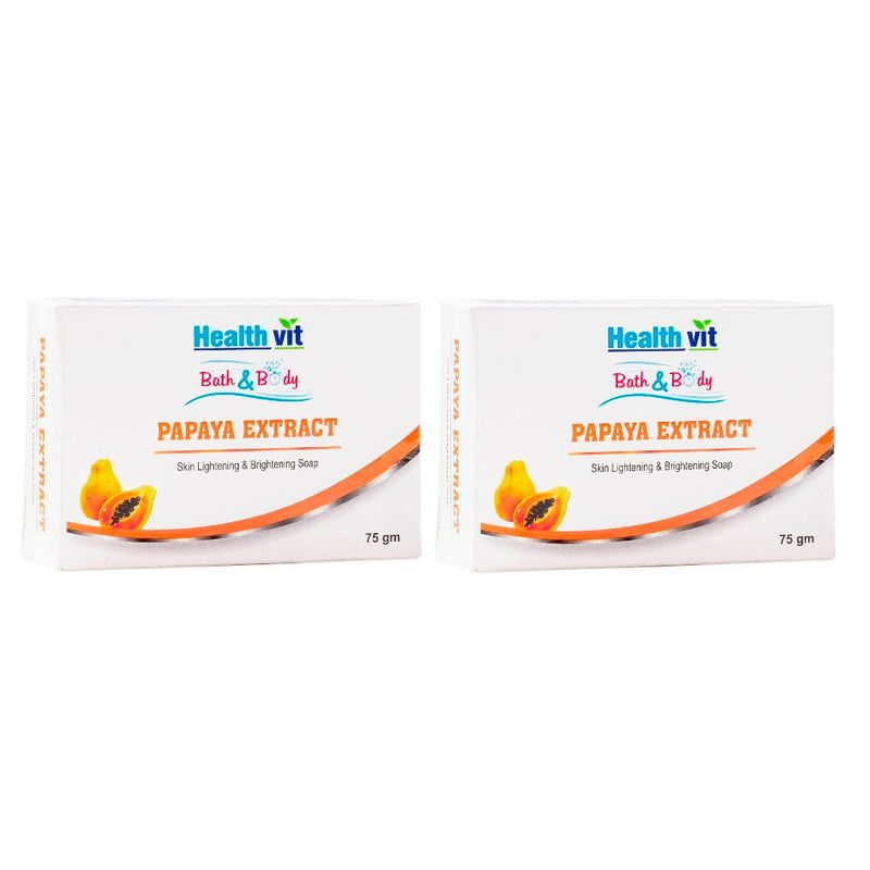 HealthVit Bath & Body Papaya Extract Skin Whitening Soap (Pack Of 2)