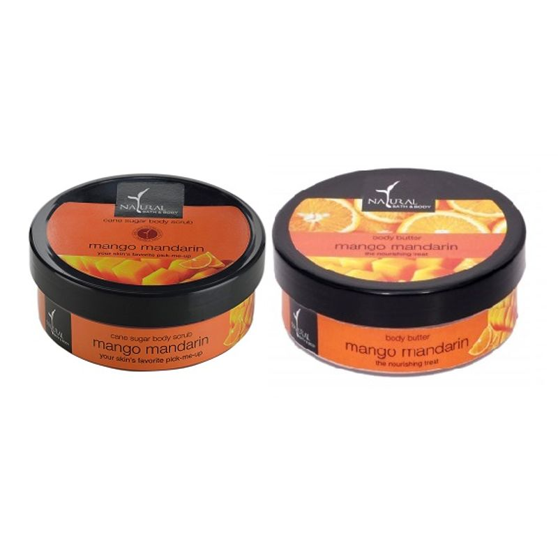 Natural Bath & Body Mango Mandarin Cane Sugar Body Scrub And Mango Mandarin Body Butter Combo