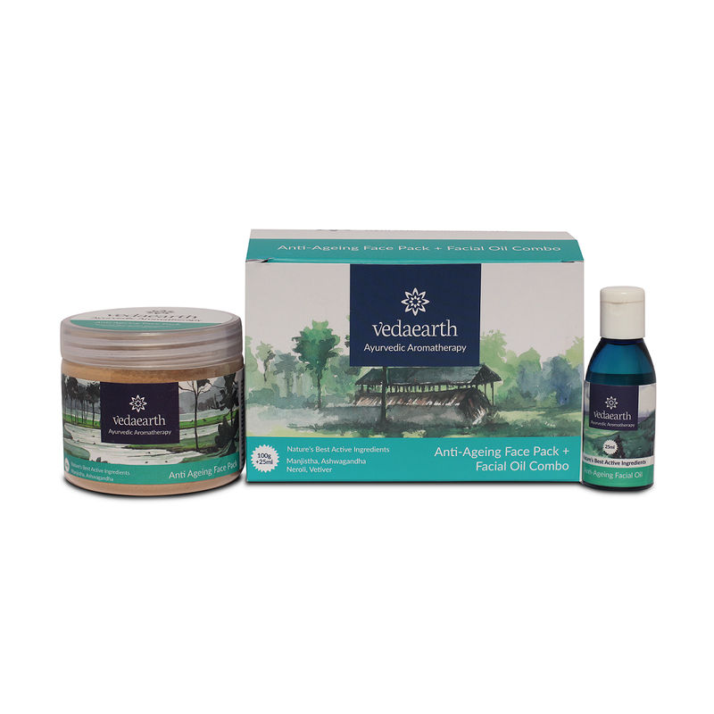 VedaEarth Anti-Ageing Face Pack + Facial Oil Combo