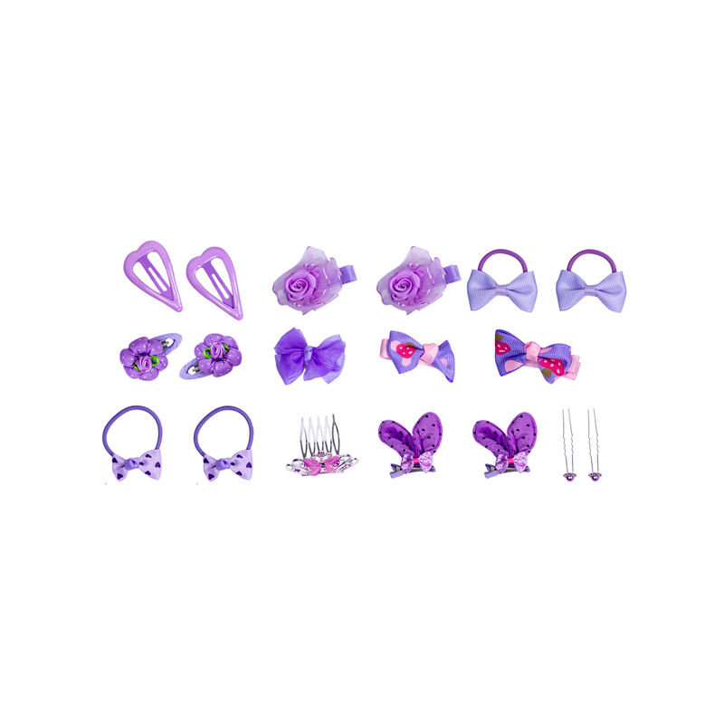 Golden Peacock Purple Girl Hair Accessory Set Of 18