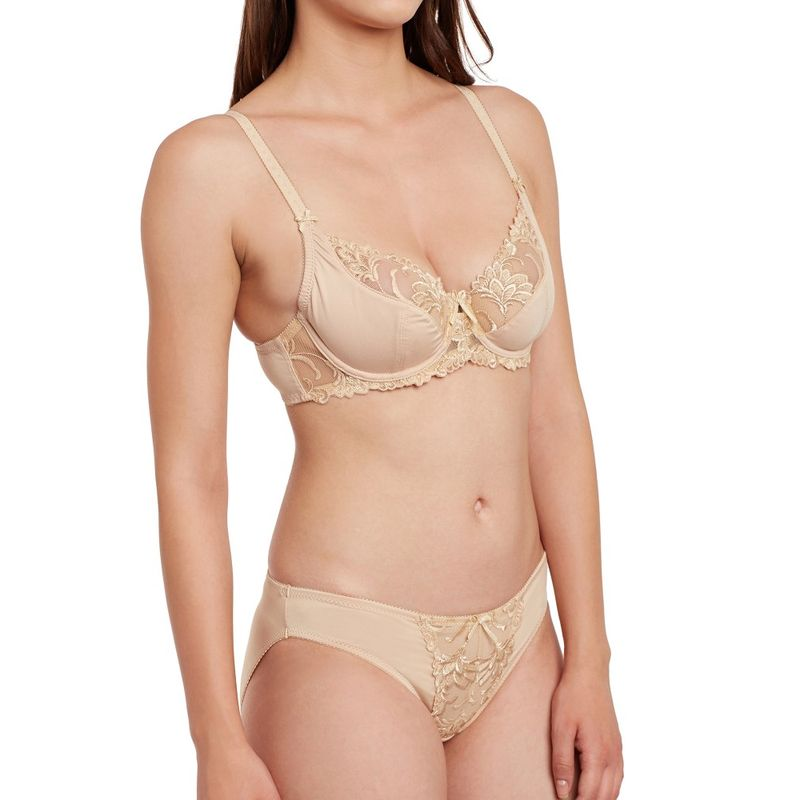 d11da193ac Secrett Curves Carmen Embroidery Full Coverage Underwired Soft Cup Bra  Panty Set - Brown at Nykaa.com