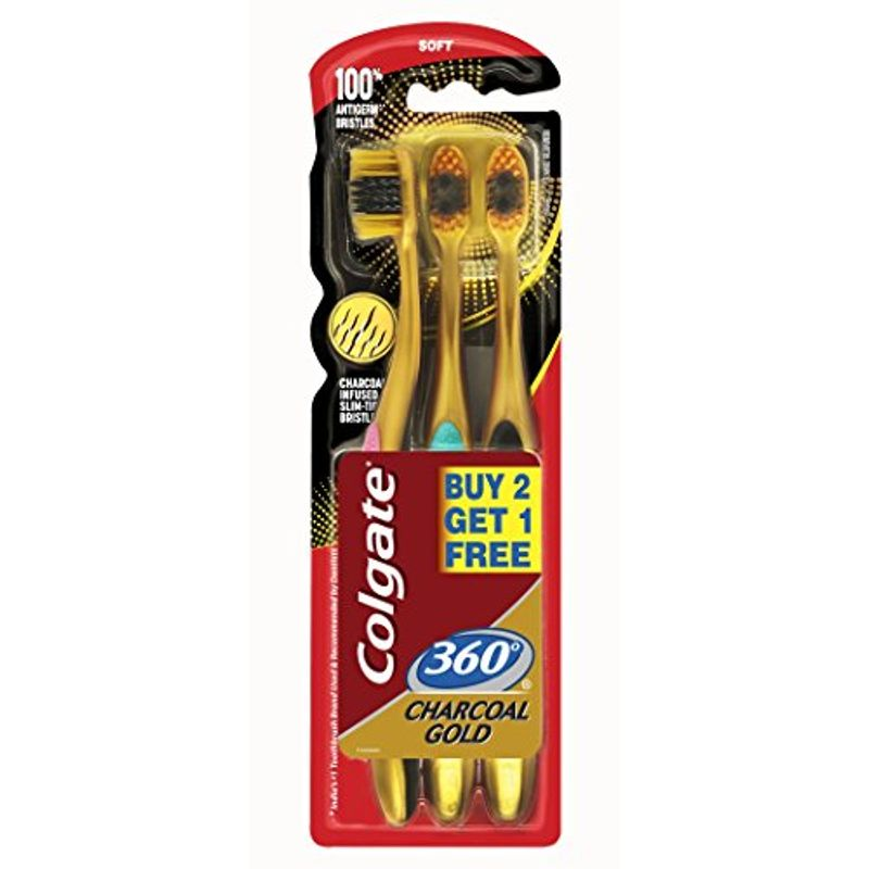 Colgate 360 Charcoal Gold Toothbrush Buy 2 Get 1 Free