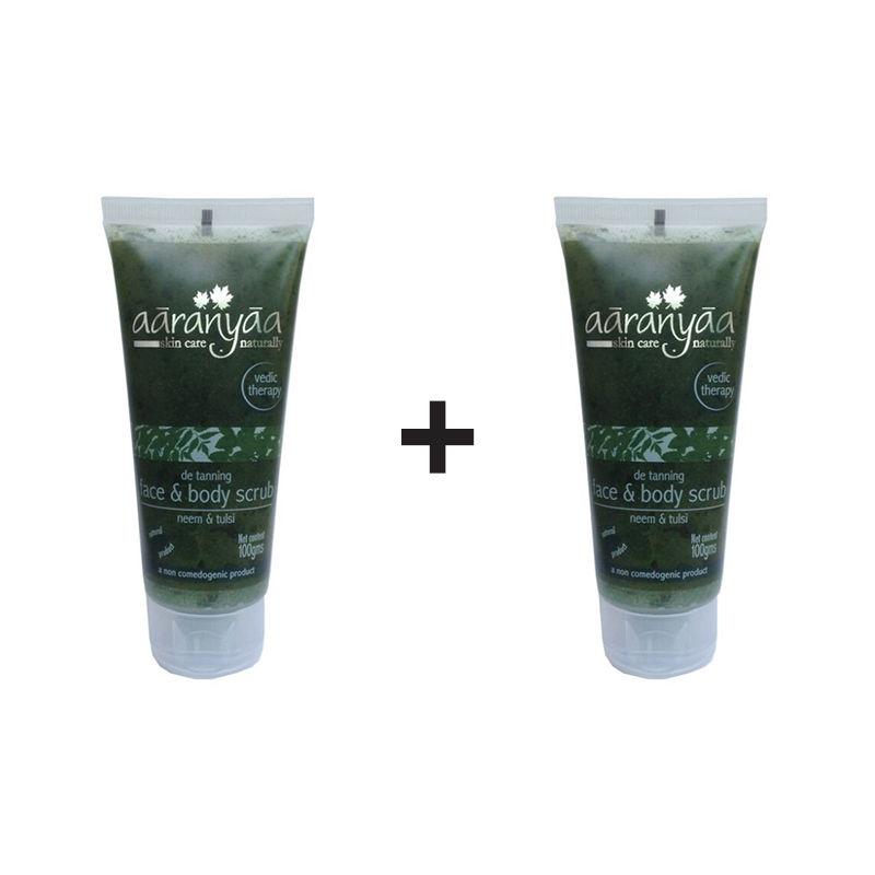 Aaranyaa Detanning Face & Body Scrub - Neem & Tulsi (Buy 1 Get 1 Free)