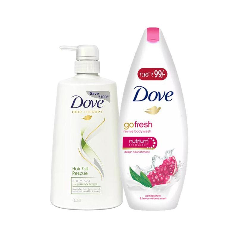 Buy Dove Hair Fall Rescue Shampoo & Get Go Fresh Revive Body Wash Free