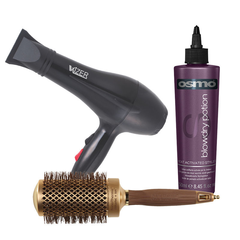 Wizer Professional Hair Dryer + Olivia Garden NanoThermic Ceramic + Ion Brush + Osmo Blow Dry Potion Heat Acitvated Styler