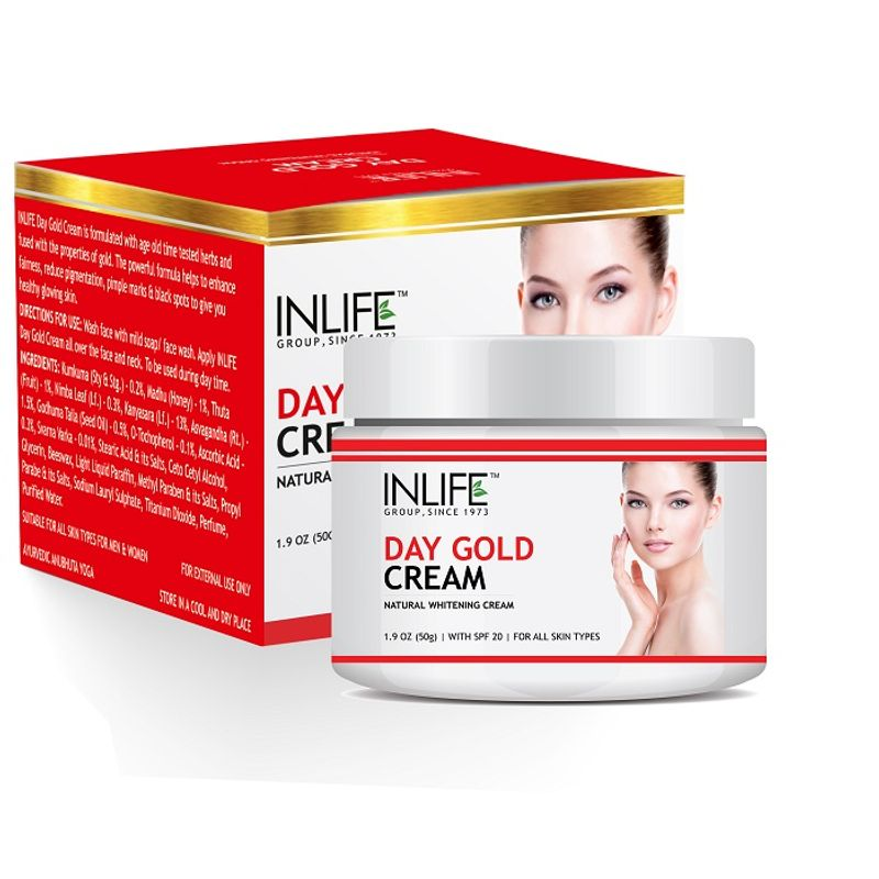 INLIFE Natural Day Gold Cream 50gm With SPF 20 For Skin Whitening & Acne Scars