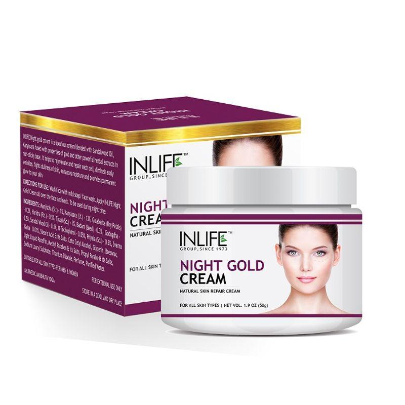INLIFE Natural Night Gold Cream, 50gm, Skin Whitening, Anti Aging For Men, Women