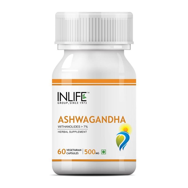 INLIFE Natural Ashwagandha Extract, 500mg 60 Veg Capsules, Stress Reliever