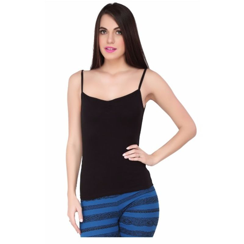 f3524fb9a01363 S.O.I.E Women s Cotton Spandex Spagetti Knited Camisole - Black (XXL)(XXL)