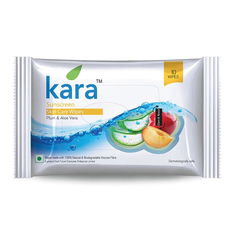 Kara Sunscreen Skin Care Wipes Plum And Aloe Vera (10 Wipes)