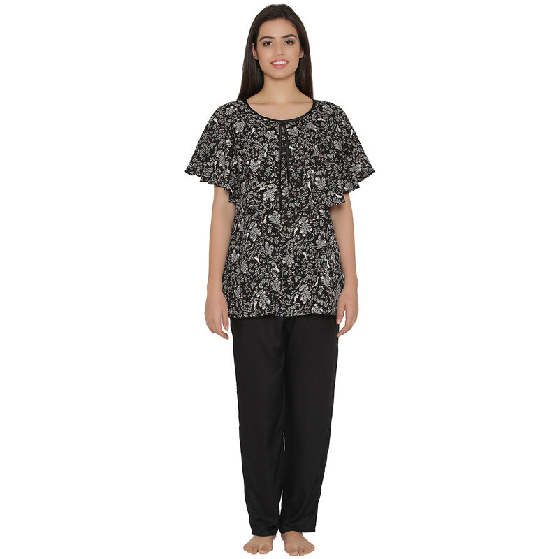 Clovia Cotton Rich Floral Print Top & Pyjama Maternity Set - Black
