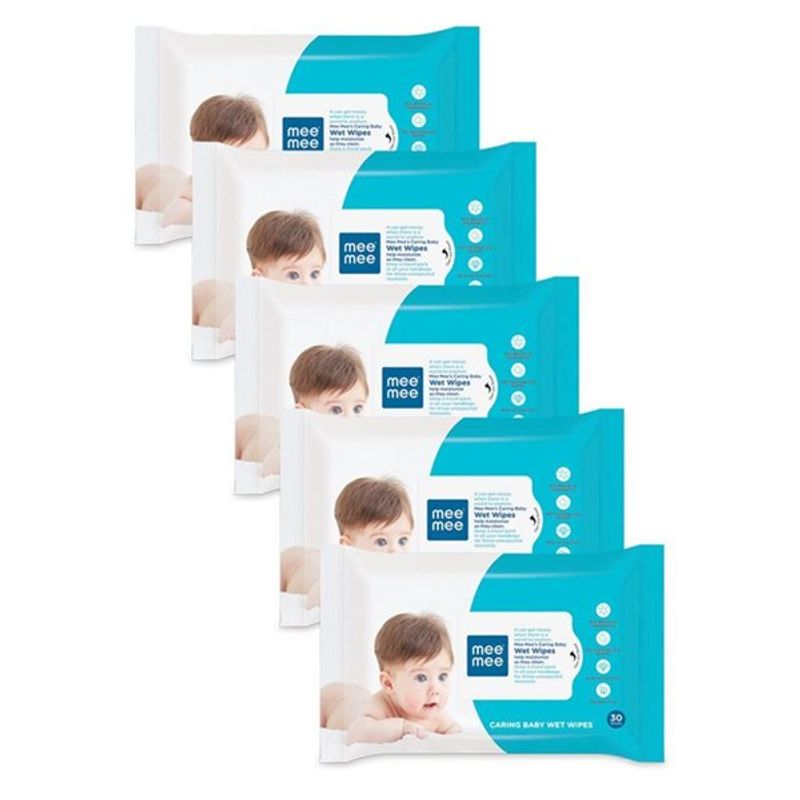 Mee Mee Caring Baby Wet Wipes With Aloe Vera - (30 Pcs) (Pack Of 5)