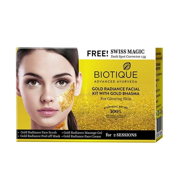 Biotique Gold Radiance With Gold Bhasma Facial Kit With Free Swiss Magic