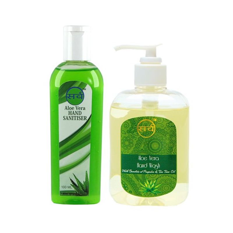 Sarv Aloe Vera Herbal Hand Wash 250ml + Herbal Sanitizer 100ml Combo Pack