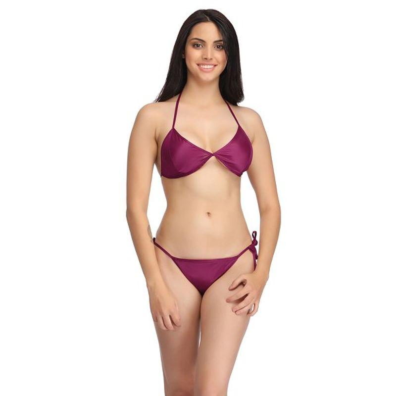 af6dfb2284c39 Clovia Set Of Halter Neck Bra   Stringy Bikini - Wine (Free Size)(Free Size)