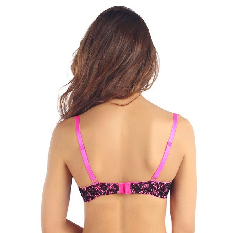 c8a256b975 Candyskin Nylon Spandex Push Up Plain With Lace Band Bra (Pink-Black) at  Nykaa.com