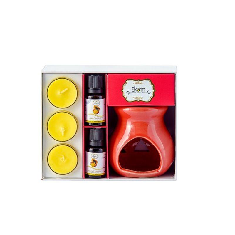 Ekam Mango Papaya Ceramic Oil Warmer Set