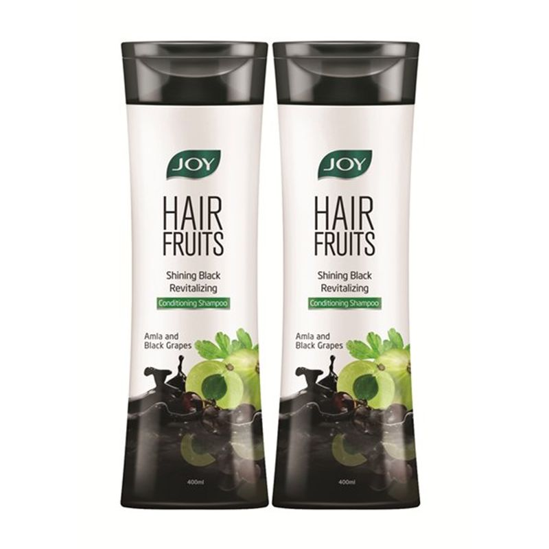 Joy Hair Fruits Shining Black Revitalizing Shampoo - Amla & Black Grapes (Pack Of 2)
