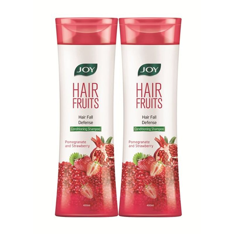 Joy Hair Fruits Hair Fall Defense Shampoo - Pomegranate & Strawberry (Pack Of 2)