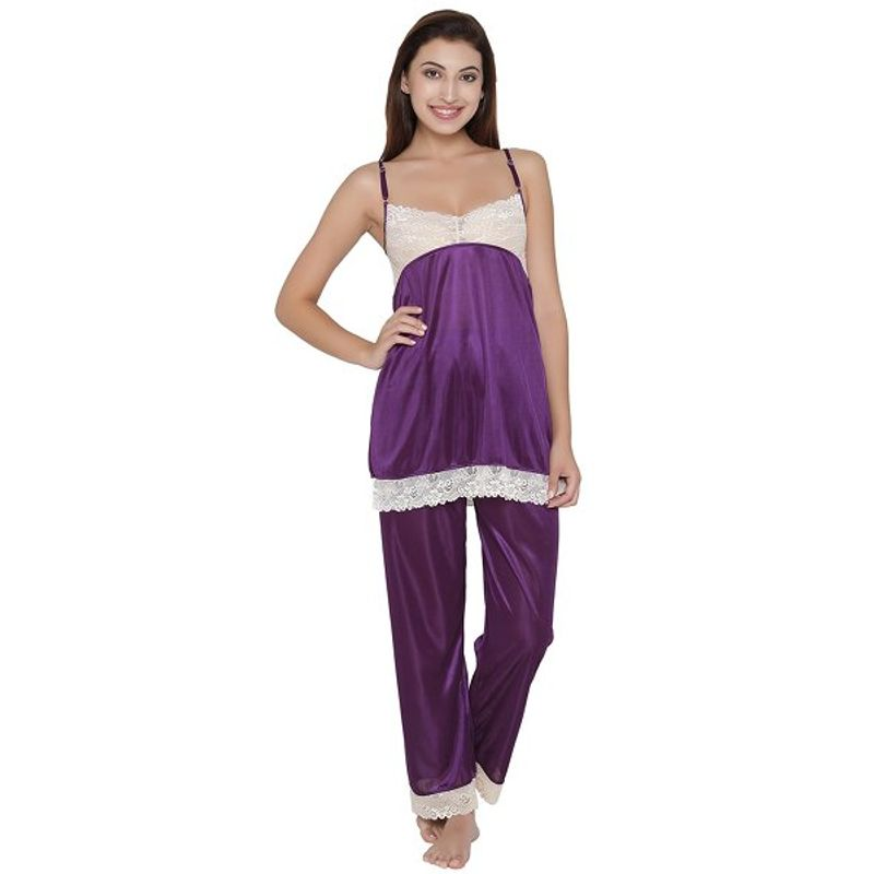 Clovia 7 Pc Satin Nightwear Set - Purple (Free Size)(Free Size) 659821053