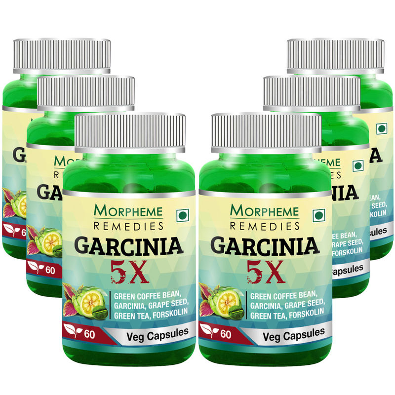 Morpheme Remedies Garcinia 5X - Garcinia, Coffee, Green Tea, Forskolin, Grape Seed - 6 Bottles