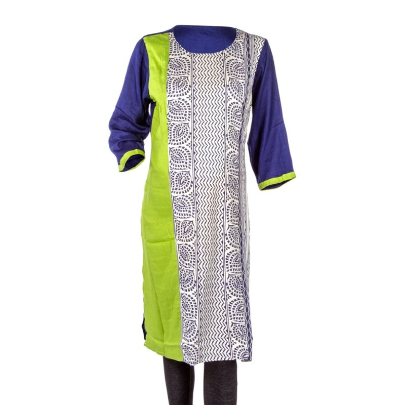 Mee Mee Maternity Cotton Kurti With Feeding Zipper - Green
