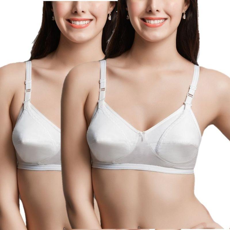 Libertina Cotton Fabric Maternity Bra Pack Of 2 - White