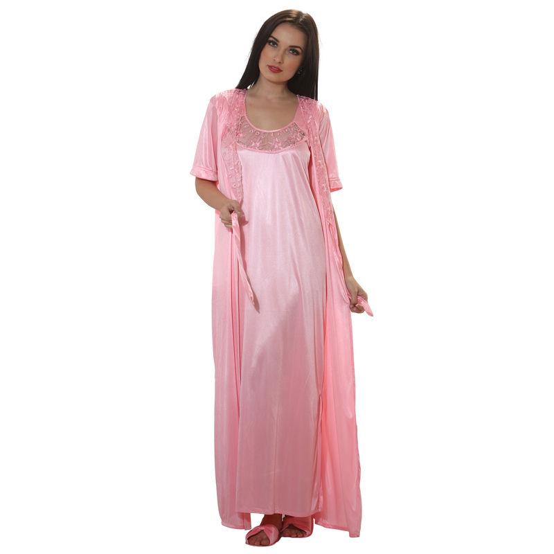 e28396c1cc Clovia 4 Pcs Satin Nightwear In Baby Pink - Robe