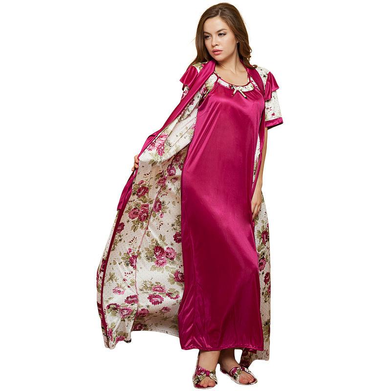 Clovia 2 Pcs PrInted SatIn Nightwear In WIne - Robe   Nightie (Onesize)(Free  Size) dd7d961e3