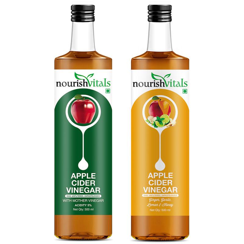 Nourish Vitals Apple Cider Vinegar + Apple Cider Vinegar With Ginger, Garlic, Lemon And Honey