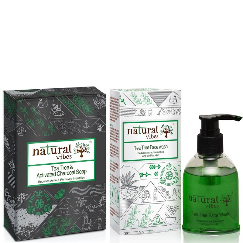 Natural Vibes Tea Tree And Activated Charcoal Bath And Body Treatment Combo