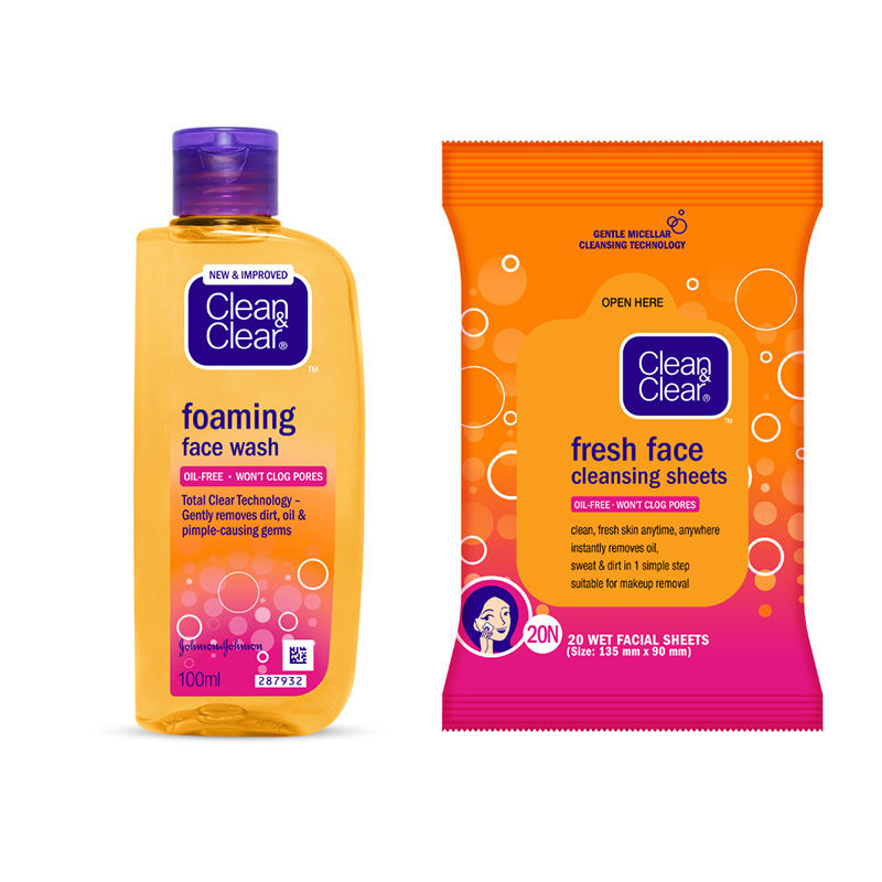 Clean & Clear Foaming Face Wash 100ml With Face Wipes With Micellar Technology Combo Kit