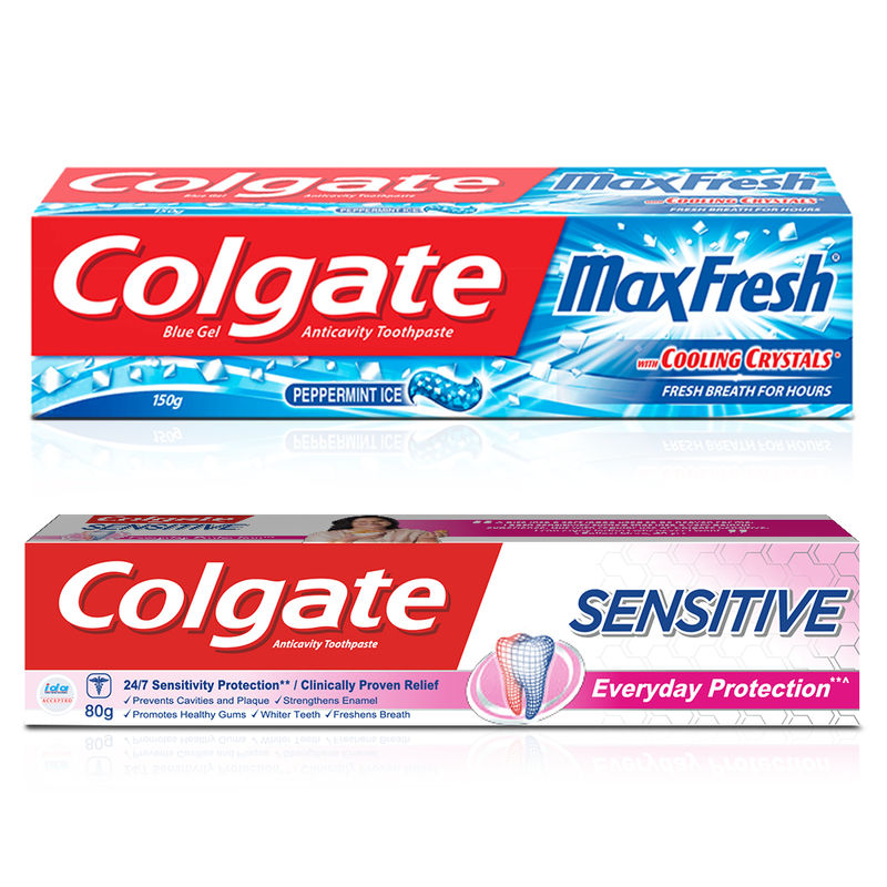 Colgate Sensitive Everyday Protection With Maxfresh Blue Gel Peppermint Ice Toothpaste Combo
