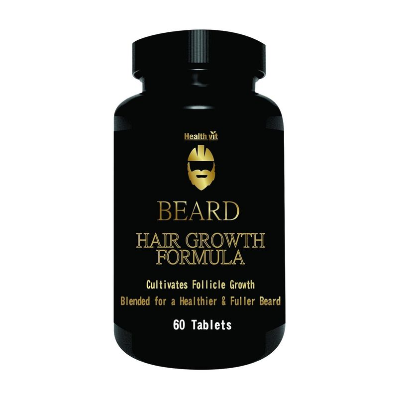 Healthvit Beard Facial Hair Supplement For Thicker And Fuller Beard Hair (60 Tablets)