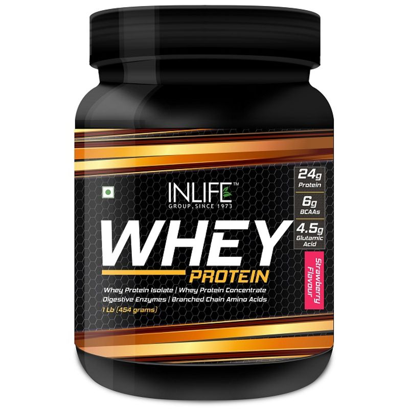 INLIFE Whey Protein Powder Body Building Supplement Strawberry Flavour 454gm