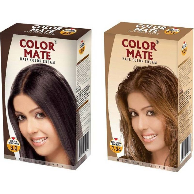 Color Mate Dark Brown & Golden Brown Hair Color Cream