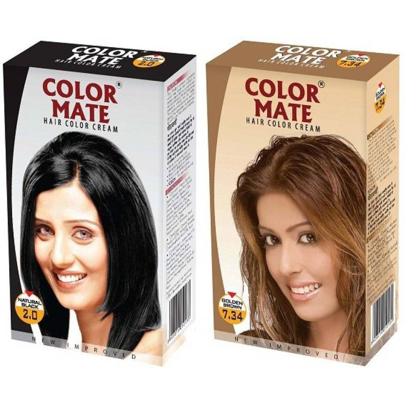 Color Mate Natural Black & Golden Brown Hair Color Cream