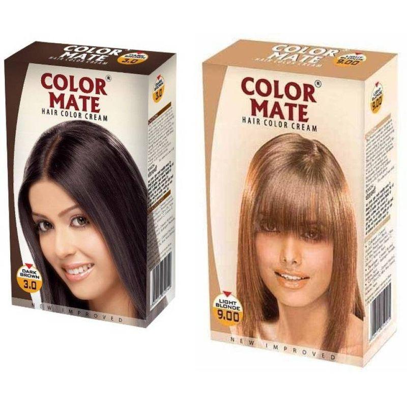 Color Mate Dark Brown & Light Blonde Hair Color Cream