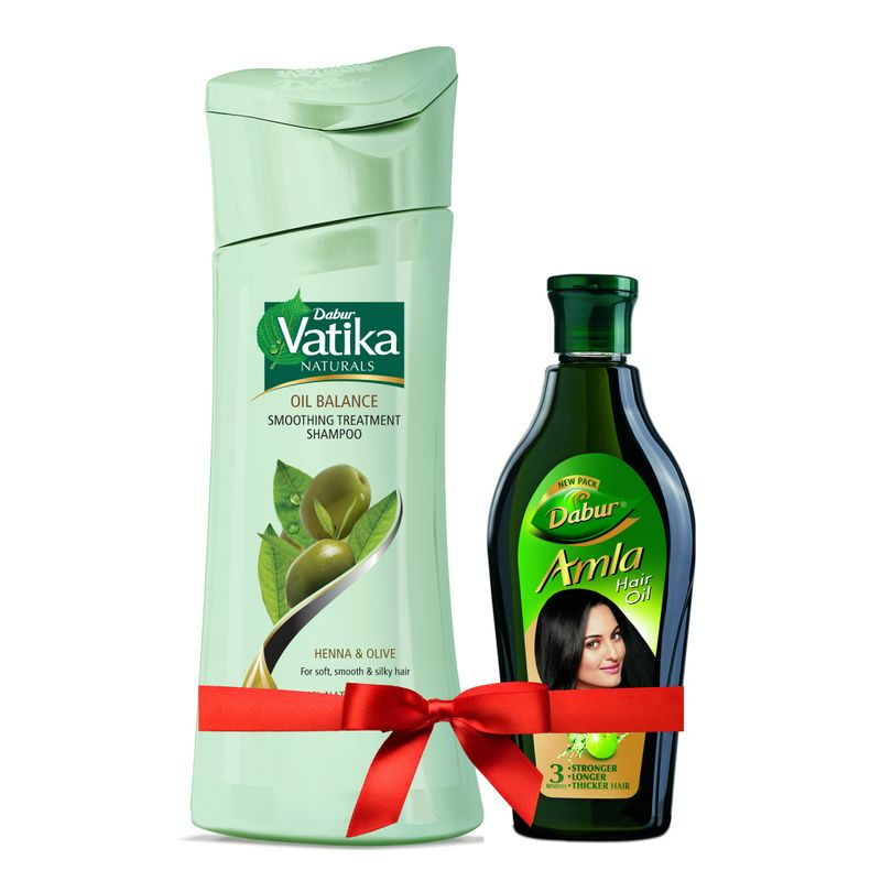 Dabur Vatika Oil Balance Smoothing Treatment Shampoo + Free Dabur Amla Hair Oil Worth Rs.84