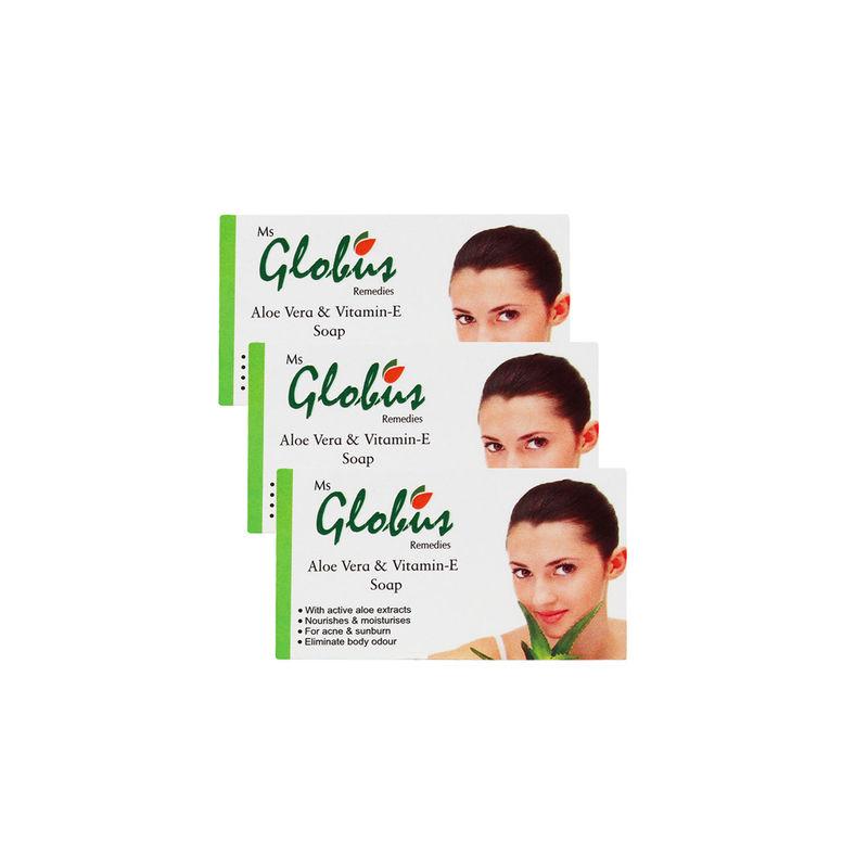 Globus Remedies Aloe Vera & Vitamin - E Soap (Pack Of 3)