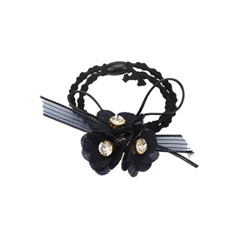 Missy Diamond Studded Floral Navy Blue Rubber Band