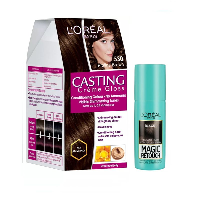 L'Oreal Paris Casting Creme Gloss Hair Color - 530 Praline Brown + Magic Retouch Instant Root Concealer - 1 Black