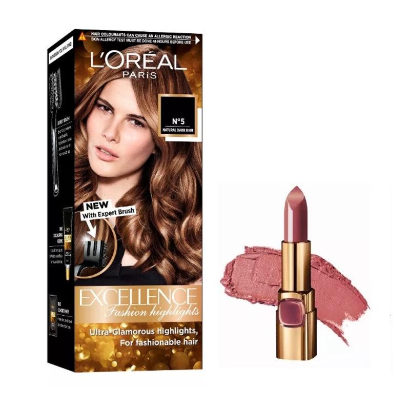 L'Oreal Paris Color Riche Moist Matte Lipstick - B511 Maple Mocha + Fashion Highlights Hair Color - Honey Blonde